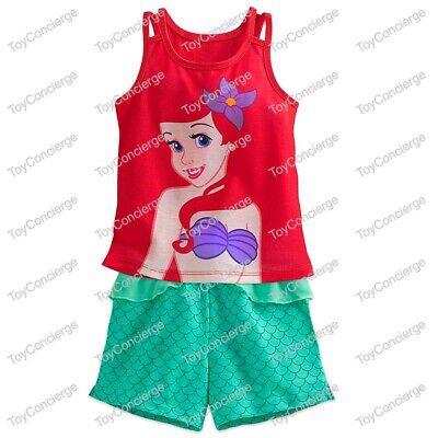 DISNEY Store SLEEP SET for Girls ARIEL 2 Piece PJ PAJAMAS Shorts Choose Size NWT