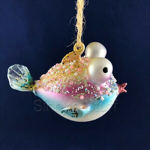 Pottery Barn Embellished Bead Glass Blowfish Fish Ornament