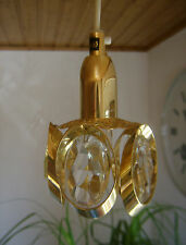 Zierlicher 70er Kronleuchter SWEDEN MINI LÜSTER 24 K.Gold  VINTAGE Kristall Glas