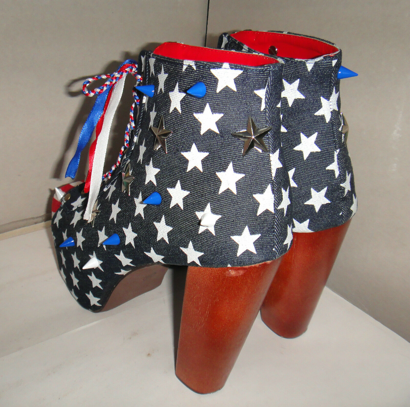 CHELISE CUSTOMISED ONE OFF USA FLAG STARS STUD PLATFORM SPIKE STUD STARS KITSCH BOOTS 5 38 8894d8