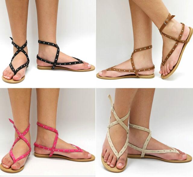 New Women Black Beige Tan Pink Studded Gladiator Strappy Thong Flat Sandals TT6