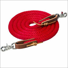 Red 8 FT Weaver Horse Poly Roping Reins W/ Leather Laces Loop Ends