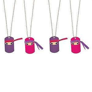 PINK NINJA PARTY Metal Ninjas Dog Tag Necklace Favours Dogtags Pk of 4 Free Post