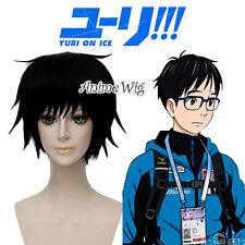 YURI!!! on ICE Katsuki Yuri Short Black Synthetic Hair Men Anime Cosplay Wig