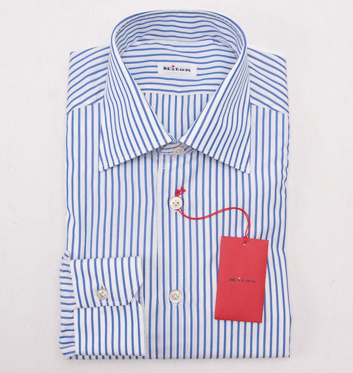 NWT  KITON bluee-White Stripe Cotton Dress Shirt Slim-Fit 17.5 x 37 + Box