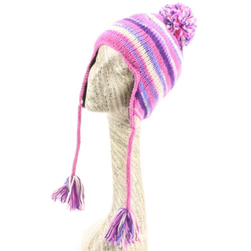 Hat Wool Earflap Stripe Striped Ear Flap Fleece Winter Beanie Knit Pink Cream
