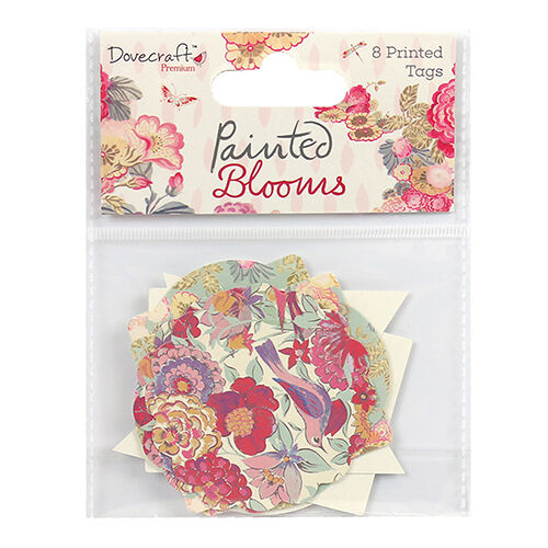 Dovecraft Painted Blooms Printed Tags Embellishments  for cards and crafts