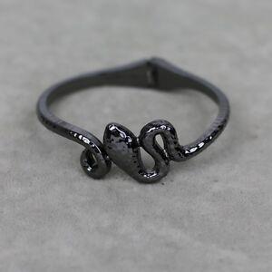Lia-sophia-signed-jewelry-black-tone-snake-cuff-bangle-stretch-bracelet