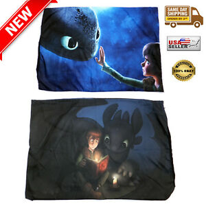 2-Set-TOOTHLESS-amp-HICCUP-Throw-Pillow-Case-19-034-x-28-034-Printed-on-BOTH-SIDE-NEW