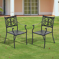 Patio Cast Aluminum Dining Chairs Outdoor Garden Furniture (set Of 2) Black on sale