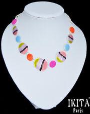 Luxus Statement-Kette Halskette IKITA Paris Kette Zebra Versilbert Orange/Pink