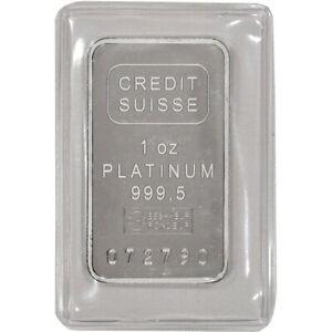 1 oz. Platinum Bar - Credit Suisse - 999.5 Fine with Certificate