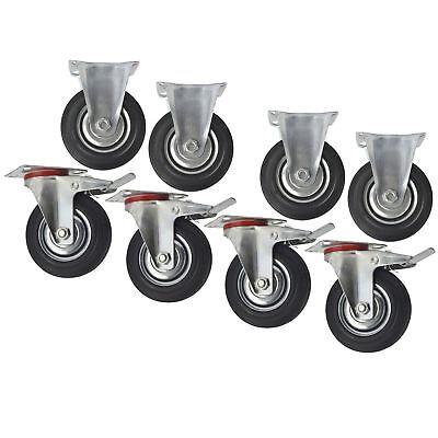"""Gut 5"""" (125mm) Rubber Fixed And Swivel With Brake Castor Wheels (8 Pack) Cst06_08 Gut FüR Energie Und Die Milz"""