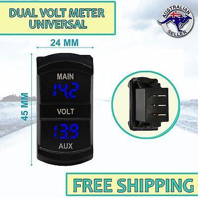 Dual Battery Digital Volt Meter Gauge Carling ARB type Rocker Size BLUE