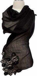 Noble con in di nozze neroseta di Foulard lanaFoulard pizzo sciarpa 4AR5L3jq