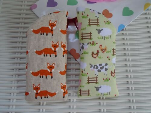 X 2 GLASSES CASES FOX /& FARMYARD DESIGNS VISION GIFT CASE HANDMADE LINED PADDED