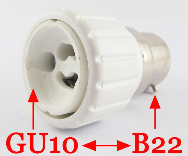10x B22 Male to GU10 Female Socket Base LED Halogen CFL Light Bulb Lamp Adapter