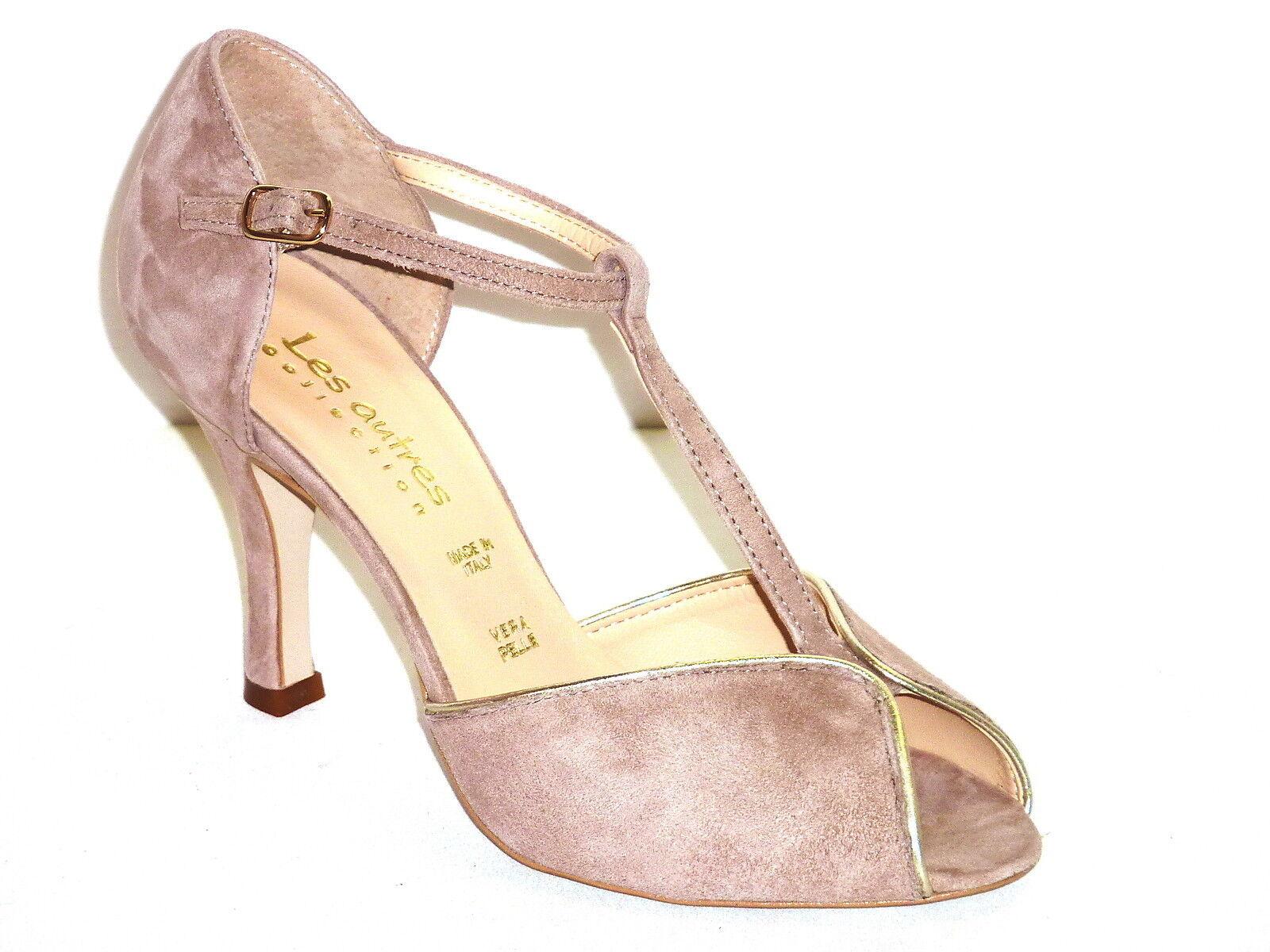 SANDALI mujer PELLE NABUK TORTORA zapatos TRENDY ALLACCIATI ALLA CAVIGLIA  n. 36