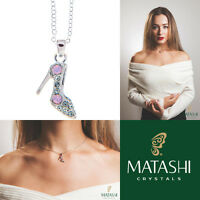 16 Rhodium Plated Necklace W/ Stiletto Shoe & Pink Rose Crystals By Matashi on sale