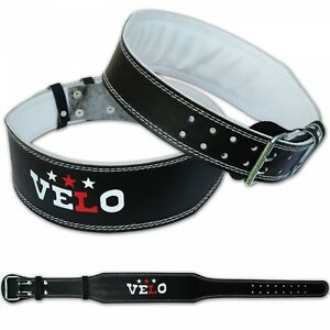 VELO-Leather-Weight-Lifting-4-034-Belt-Gym-Power-Back-Support-Fitness-Training