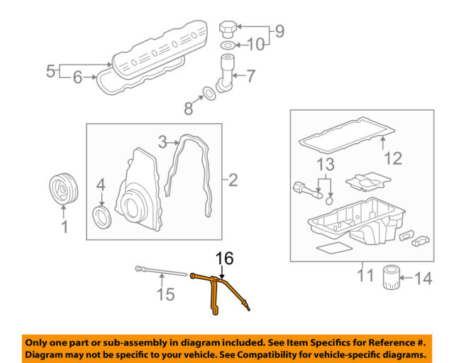 Oem 12609269 Gm Engine Oil Level Dipstick Tube Ebayrhebay: Gm Engine Diagrams At Gmaili.net