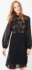 0246c1661cc NWT LES PETITES LUX Robe Daniela Ladies Black Lace Dress Long Sleeve ...