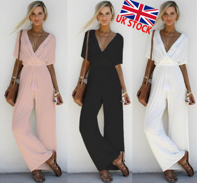 Womens Ladies Short Sleeve Solid V Neck Playsuit Wide Leg Long Pants Party Dress