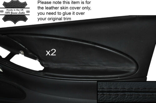 BLACK STITCH 2X FRONT DOOR CARD TRIM LEATHER SKIN COVER FITS FORD MUSTANG 94-04