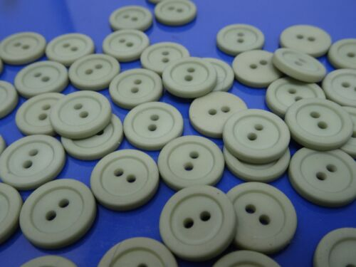Vyg Round Olive Avocado Green 2-Hole Buttons Raised Edge 14mm Lot of 10 B153-4