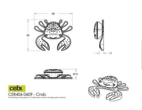 Drawer Door Knob Handles Cebi Joy CRAB GREEN//RED Kids Cupboard
