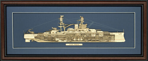 Wood Cutaway Model of USS Arizona (BB-39) - Made in the USA