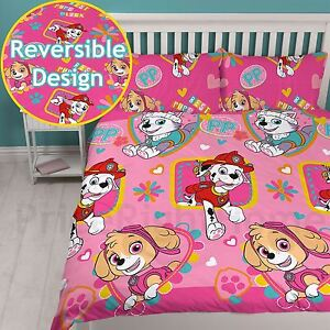 pfote patrol f r immer doppelbett bezug set m dchen kinder pink bettw sche ebay. Black Bedroom Furniture Sets. Home Design Ideas