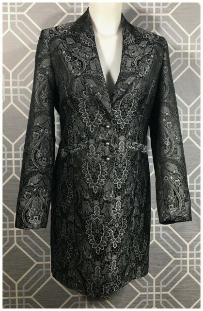 Women's AMANDA SMITH Black Gray Embroidered Damask Blazer Jacket Top Size 4 EUC