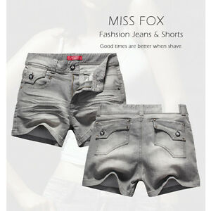 NEW LADIES MISS FOX GREY DENIM WOMEN JEANS SHORTS-SIZE 14