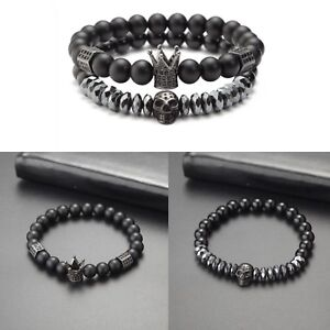 Unique Titanium Black Skull King Crown And Onyx Natural Stone Beaded Bracelets Men's Jewelry Jewelry & Watches