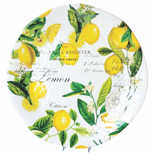 Michel Design Works Melamine Large Round Serving Platter Lemon Basil