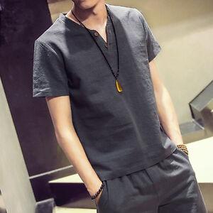 Men-039-s-Linen-Flax-Breathable-T-Shirt-Casual-V-Neck-Short-Sleeve-Shirt-Tops-Tees