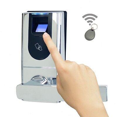 Keyless Entry Biometric Fingerprint Door Lock + RFID FOB READER + Mechanical Key
