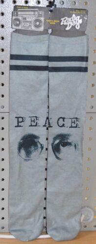 New Radio Dayz PEACE John Lennon Glasses The Beatles Crew Socks sz 10-13 Grey