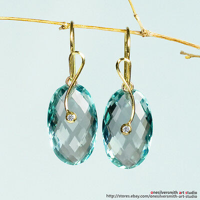 ORIGINAL Pure Gold 18k or 14k X-Large Sage Green Prasiolite Emerald-Cut Earrings