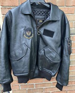 Correspondiente a desconectado Opuesto  Alpha Industries Para Hombre Talla M Negro Cuero Chaqueta Abrigo Bombardero  Piloto | eBay