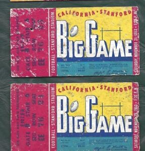 1953-football-ticket-stub-lot-of-2-Stanford-Indians-v-California-Bears-BIG-GAME