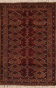 Geometric-Balouch-Afghan-Area-Rug-Wool-Hand-Knotted-Oriental-Tribal-Carpet-3-039-x4-039