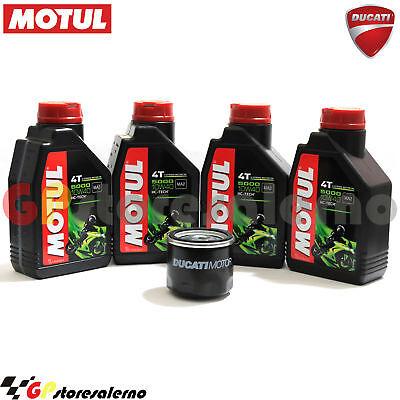 100% Vero Olio + Filtro Originale Motul 5000 10w40 4l Ducati 1100 Monster Diesel 2014 Fabbricazione Abile