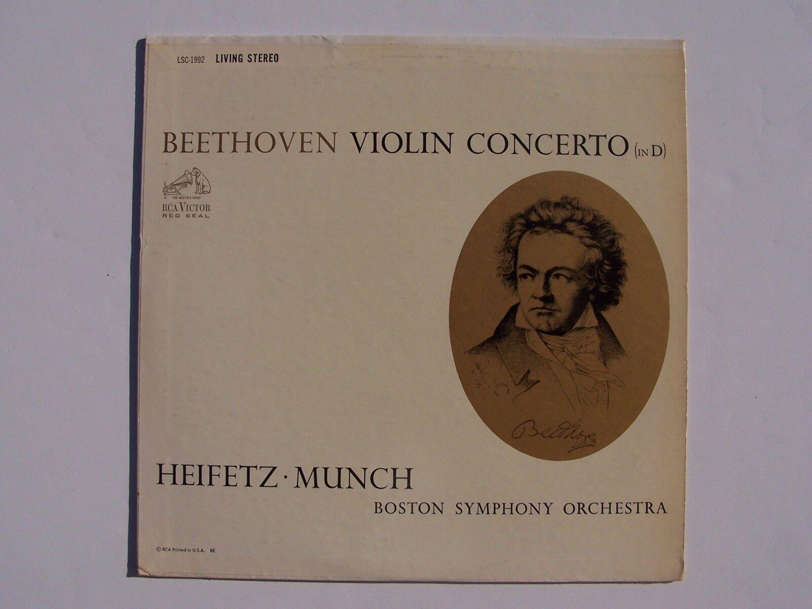 Beethoven Heifetz Munch BSO Violin Concerto In D Vinyl