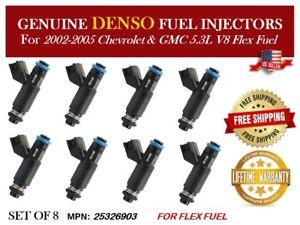 Set of 8 DENSO 4580 Flex fuel injector 02-04 GM L59 5.3L V8 25326903 88894361