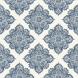 G67368 Indo Chic Motif Bleu Or Blanc Galerie Papier Peint Ebay