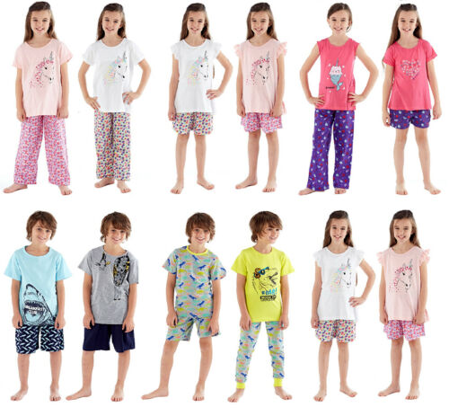 Kids Boys Girls Pyjamas Printed Short Sleeve Top Short Plain Bottom 3-12 Yrs
