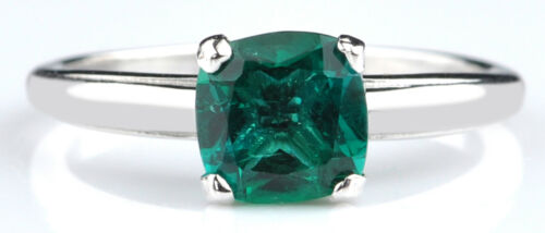 1.10 Carat Natural Zambian Emerald 14KT White Gold Cushion Shape Solitaire Ring