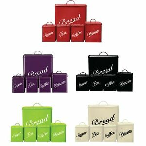 5-Piece-Canister-Set-Bread-Bin-Sugar-Coffee-Tea-Biscuits-Tin-By-Home-Discount